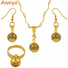 Anniyo Small Round Ball Pendant Necklace Earrings Rings Sets for Women Girls Papua New Guinea Beads Jewelry PNG Items #122606