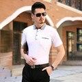 2016 de la marca de ropa Polo de manga corta para nueva calidad algodón de la impresión delgada para hombre Polo grandes del tamaño Mens adelgazan la ropa 5XL-M
