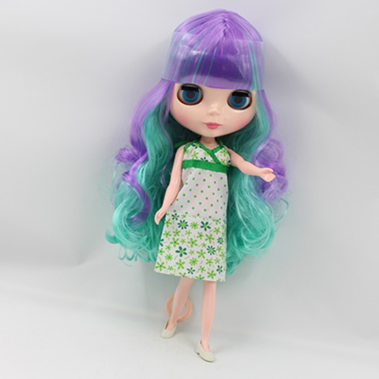 Nude Doll For Series No.42687216 green mix purple hair with bangs цена