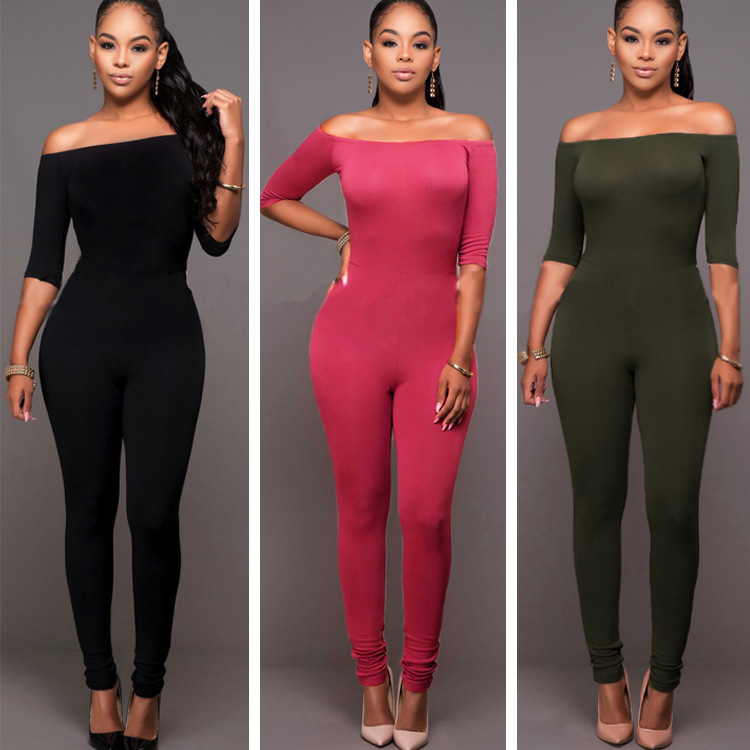2016 HOT Women New Fashion Off Shoulder Sexy Jumpsuits Ladies Sexy Party Bodycon Bandage bodysuits Skinny Club Vestidos Rompers