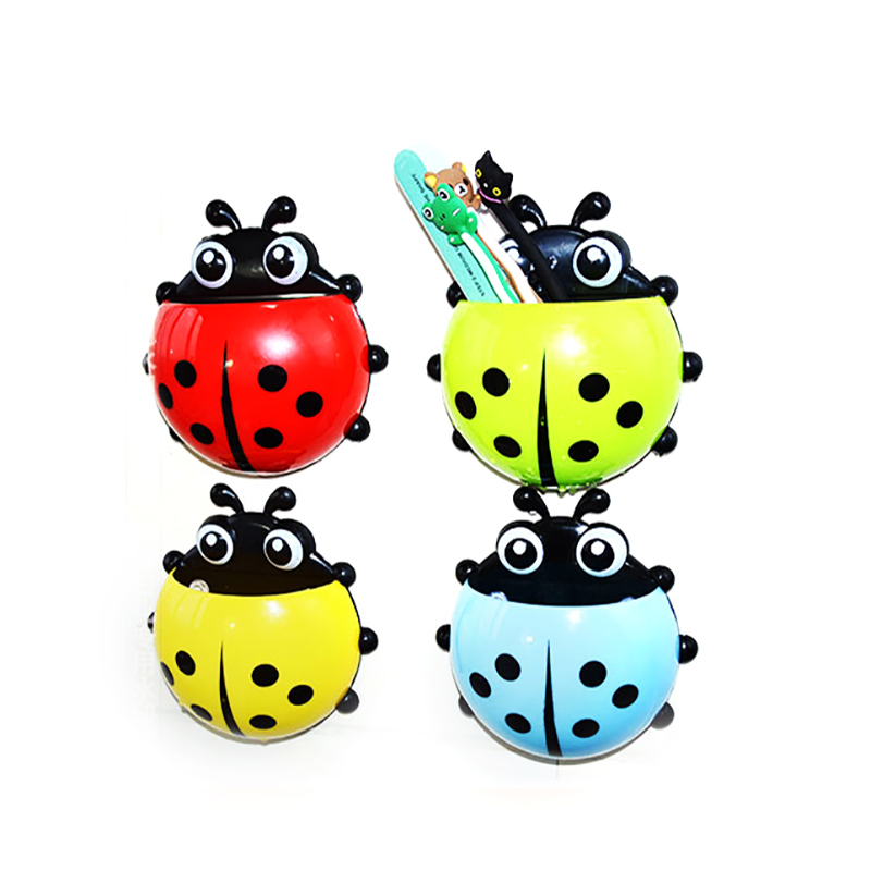1pc Cute Novelty Ladybug Toothbrush Holder Toiletries Toothpaste Holder Bathroom Sets Suction Tooth Brush Container Home Improvement