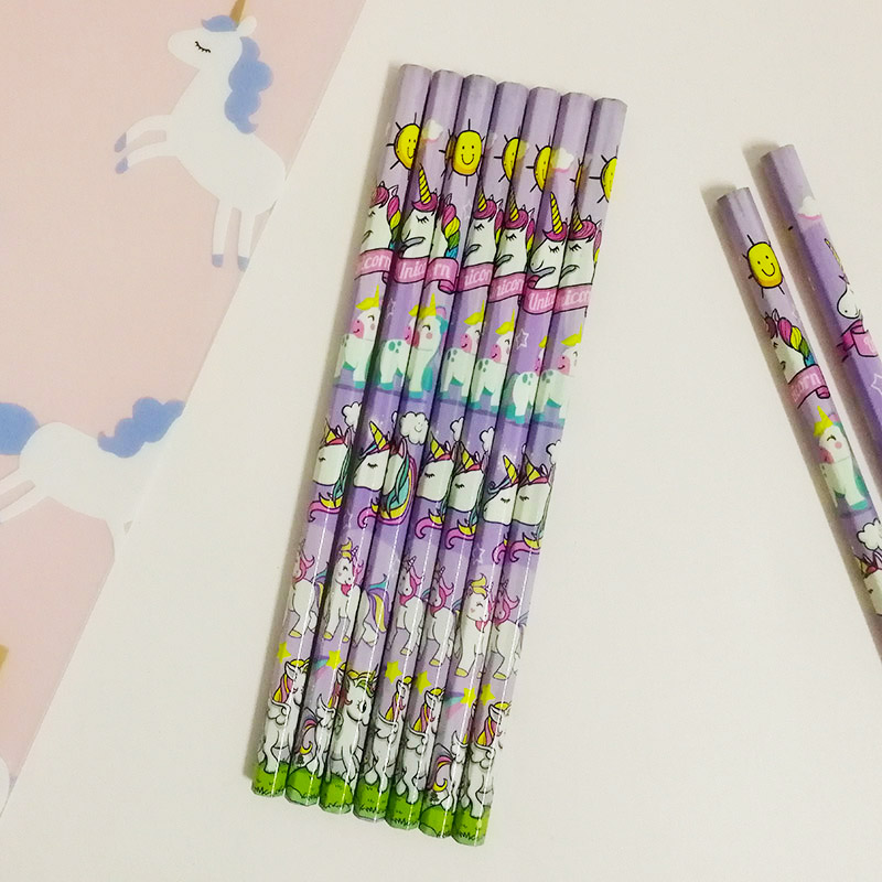 12Pcs/Set Cute Kawaii Cartoon Unicorn Pencil 2B Sketch Items Drawing Stationery Student School Office Supplies for Kids Gift 12pcs candy color cute pencil hb 2b school stationery store student kids triangle graphite drawing sketch wood pen office supply