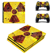 Radiation Precaution Sign PS4 pro Skin Sticker For Sony Playstation 4 Promotion Console & 2Pcs Controller Protection Film