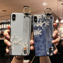 цена на Wrist Strap Phone case For iPhone X XS Max XR Cover Soft TPU Flower Pattern Holder Cases For iphone 7 8 6 6s plus Stand case