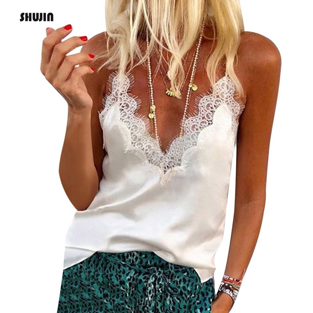SHUJIN 2019 Summer Women Vest Lace V Neck Patchwork Sling Tops Sleeveless  Casual Loose Plus Size Streetwear Tank Camisole