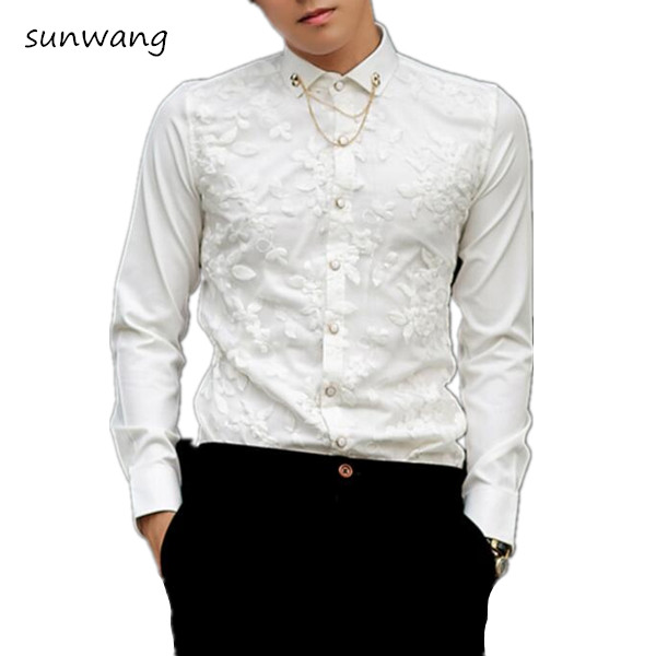 New Fashion 2017 Sexy Man Lace Shirt Brand Floral Slim Fit Blouse ...