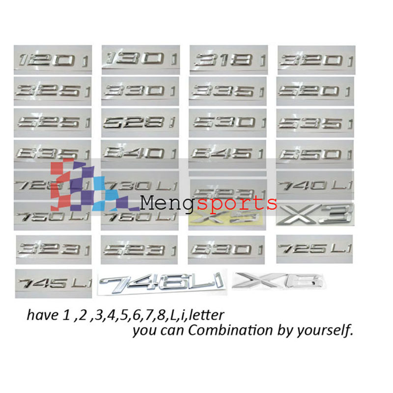 100pcs Chrome 1 3 5 7 Li Letter power ABS Boot Car Styling Badges Emblem Shipping Free