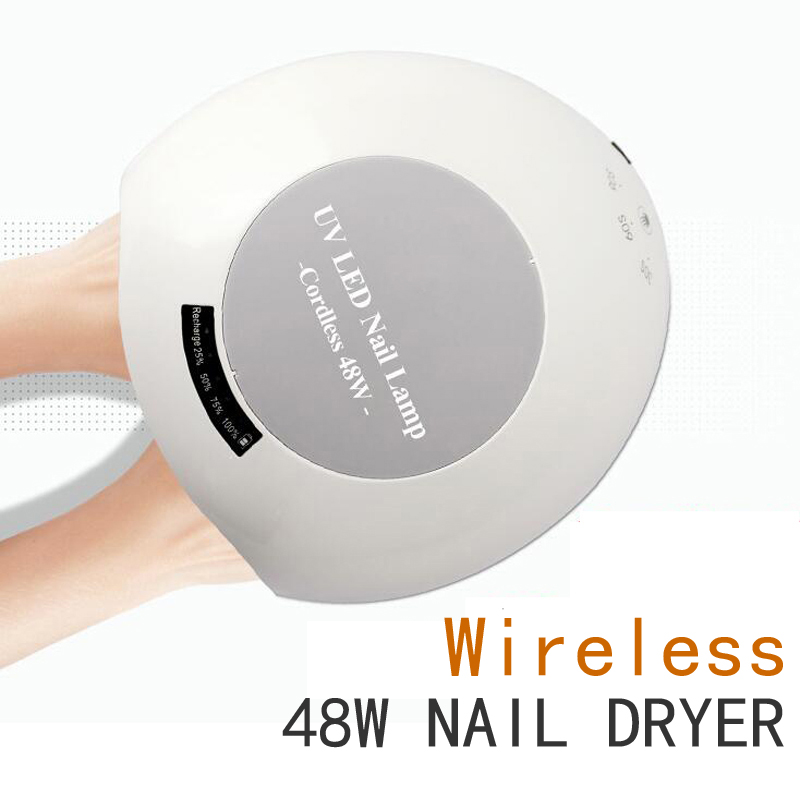 48W Rechargeable Nail Gel Wireless Rechargeable LED UV Nail Dryer Apparatus for Manicure Curing Lamp with Automatic Sensor