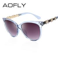 AOFLY Cat Eye Women Sunglasses Fashion Women Oval Sun Glasses Jewelry Temple Glasses Ladies Vintage Brand