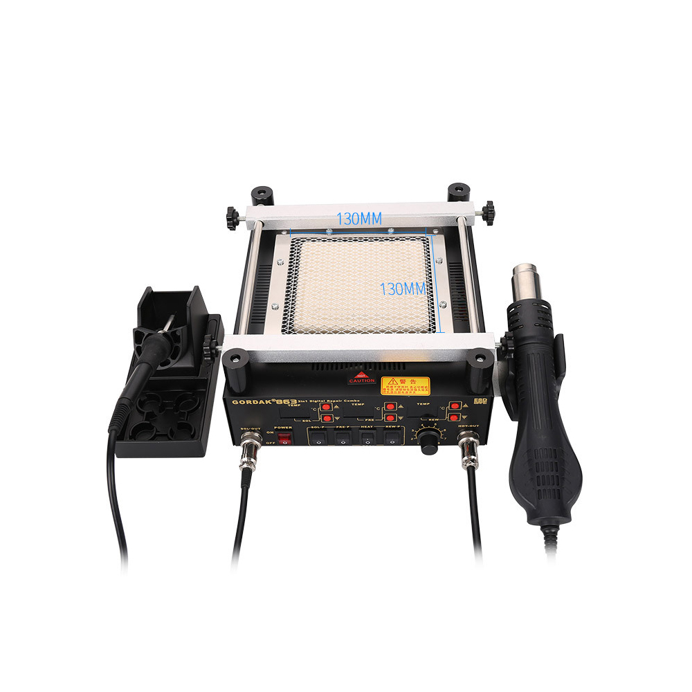 Gordak 863 3 in 1 Digita Hot Air Heat Gun BGA Rework Solder Station + Electric Soldering iron + IR Infrared Preheating StationGordak 863 3 in 1 Digita Hot Air Heat Gun BGA Rework Solder Station + Electric Soldering iron + IR Infrared Preheating Station