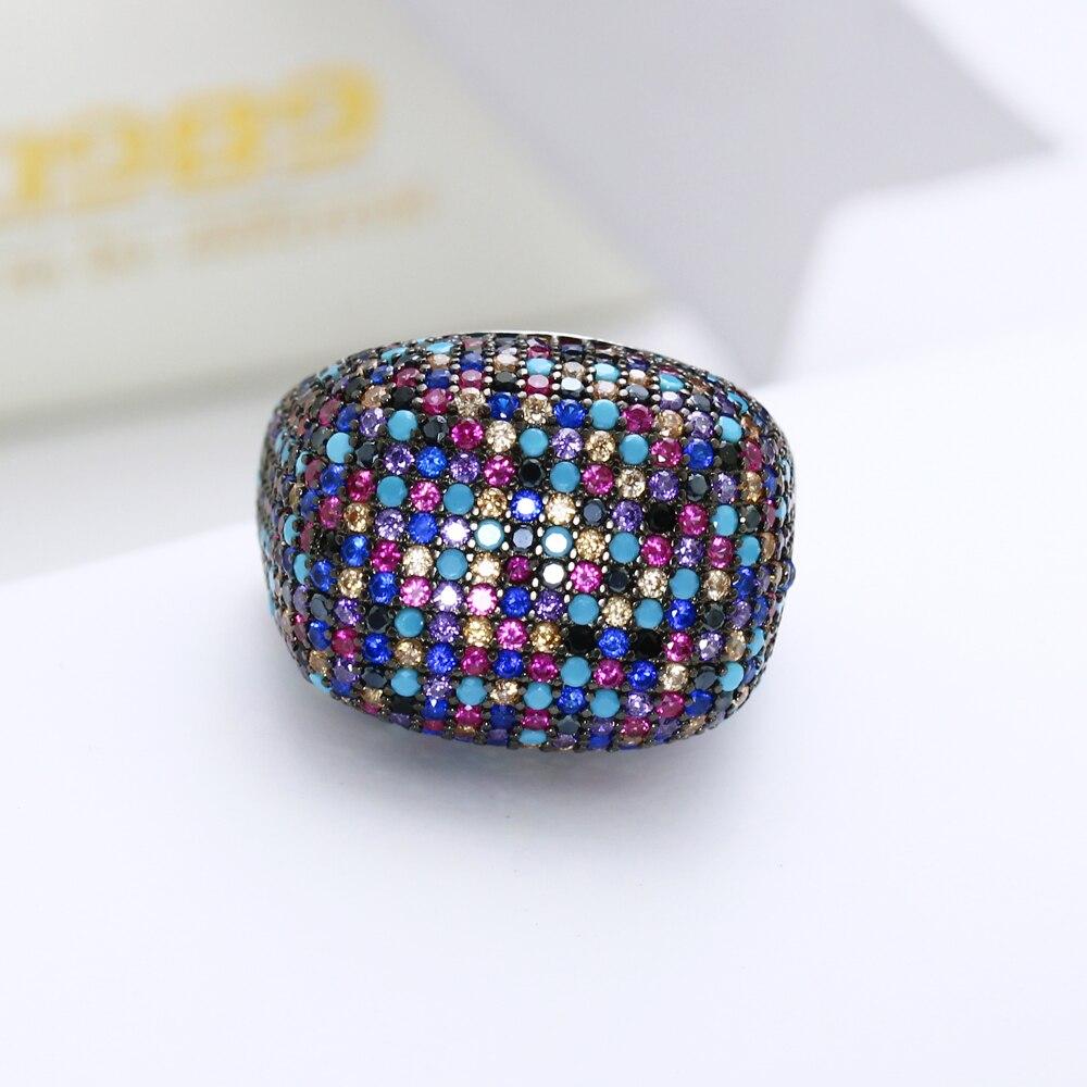 Réel 925 bague en argent sterling magnifique multi zircon coloré cristal de luxe bijoux en argent 925 bagues femmes pour la fête - 3