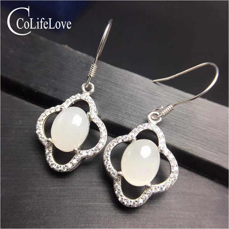 Us 25 93 35 Off Elegant White Jade Drop Earrings For Evening Party 7 Mm 9 Milk Solid 925 Sterling Silver Jewelry In