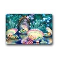 Home Idea Wonderful Underwater World Beautiful Mermaid Seashell Art Fabric Door Mat Indoor/Outdoor/Bathroom Doormat