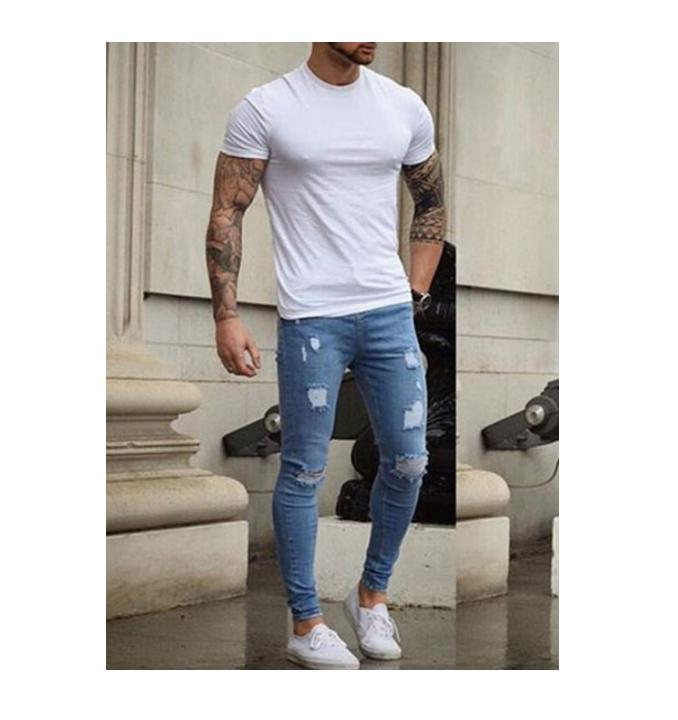 Men's Stretchy Ripped Skinny Biker Jeans Men Destroyed Taped Slim Fit Denim Pants Long Trousers represent clothing designer pants slp destroyed mens slim denim straight skinny biker jeans men slim fit ripped jeans 1376 7 8