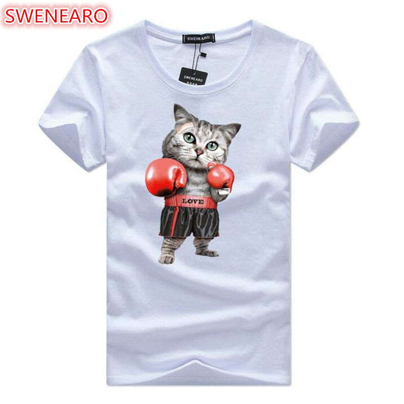 SWENEARO T-Shirts Animal-Print 3D Plus-Size Short-Sleeve Fashion Summer O-Neck Cat Men's