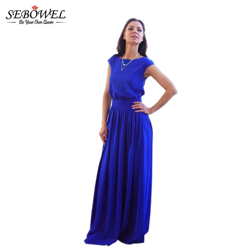 2d18c1c321cb15 SEBOWEL 2018 Zomer Elegante Maxi Jurk Vrouwen Blauw Vintage Mouwloos O hals  Lange Feestjurken Femme Vestidos Plus size M XXL in SEBOWEL 2018 Zomer  Elegante ...