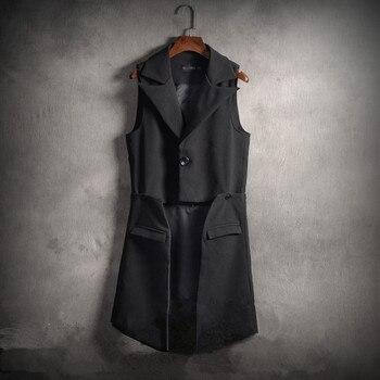 S-6XL! Large size men's vests   2018 New lapel suit jacket with detachable trim and long style style jacket