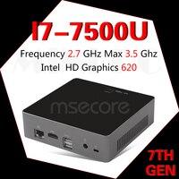 MSECORE I7 7500U game Mini PC Windows 10 Desktop Computer NUC Pocket PC barebone system linux Nettop HD620 Intel bluetooth WiFi