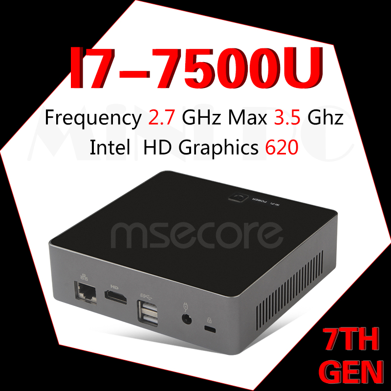 MSECORE I7 7500U jeu Mini PC Windows 10 Ordinateur De Bureau NUC Poche PC barebone système linux Nettop HD620 Intel bluetooth wiFi