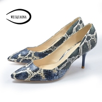 WEIQIAONA Occident Vogue Sexy Snake Pattern High Heel Single Shoes Vintage Women Pumps Dress Shoes Party
