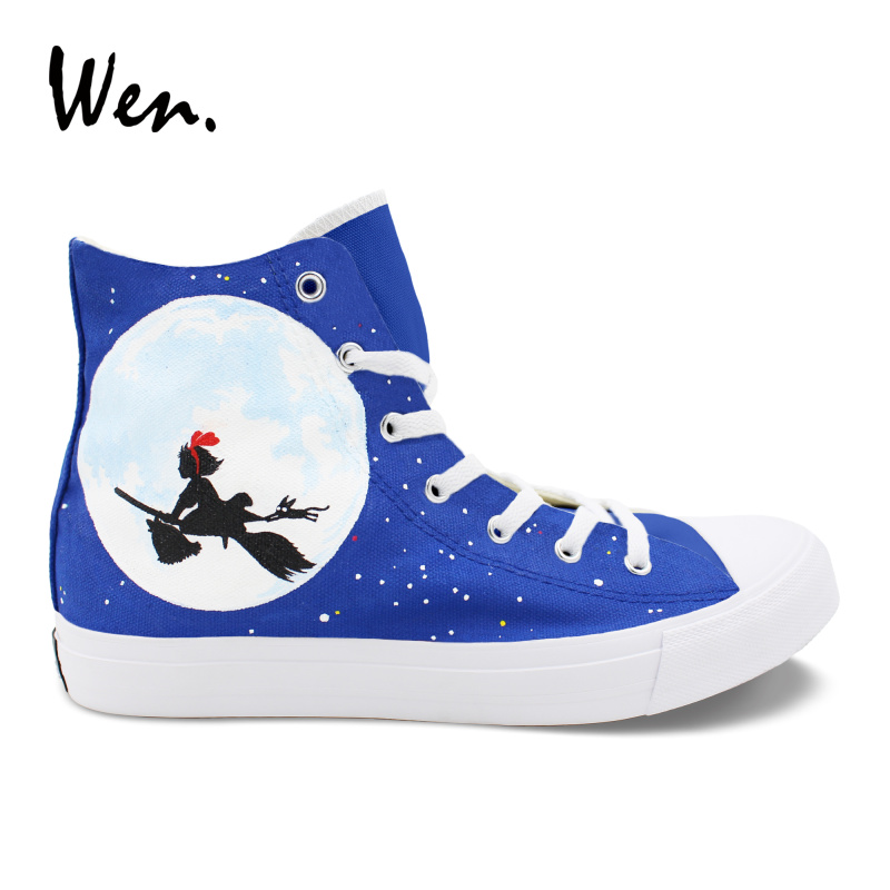 Wen Unisex Sneakers Hand Painted Shoes Kiki's Delivery Service Anime Design Vulcanize Shoes Girl Boy Cosplay Shoes Plimsolls wen unisex design hand painted shoes anime kiki s delivery service high top canvas sneakers girl boy skateboarding shoes
