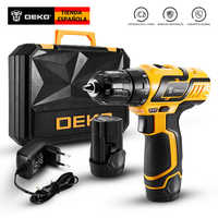 DEKO GCD10.8DU3 10.8V Cordless Drill Electric Screwdriver Lithium-Ion Mini Power Driver Variable Speed with LED Light