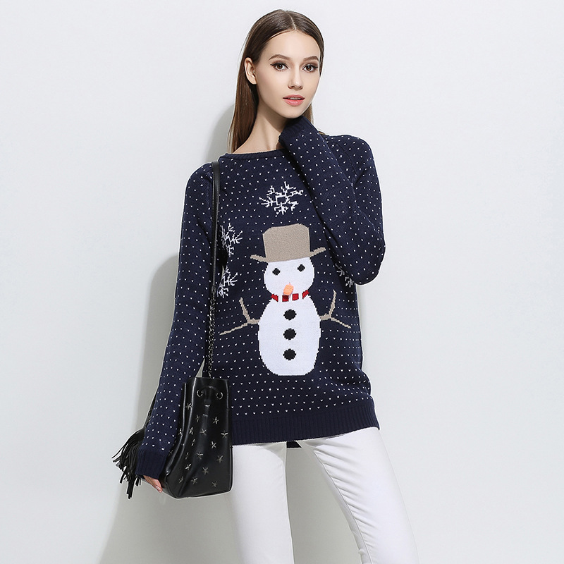 2018 New Winter Warm Women Pullover Sweater Autumn Knitted Tops Christmas  Snowman Jacquard Female Knitwear Thick Sweaters W184-in Pullovers from  Women s ... ccee9a561