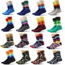 Skritts 1pair Colorful Socks Men Camouflage Casual Long Hip Hop Crew 3D Print Plaid Striped for Meias Sokken