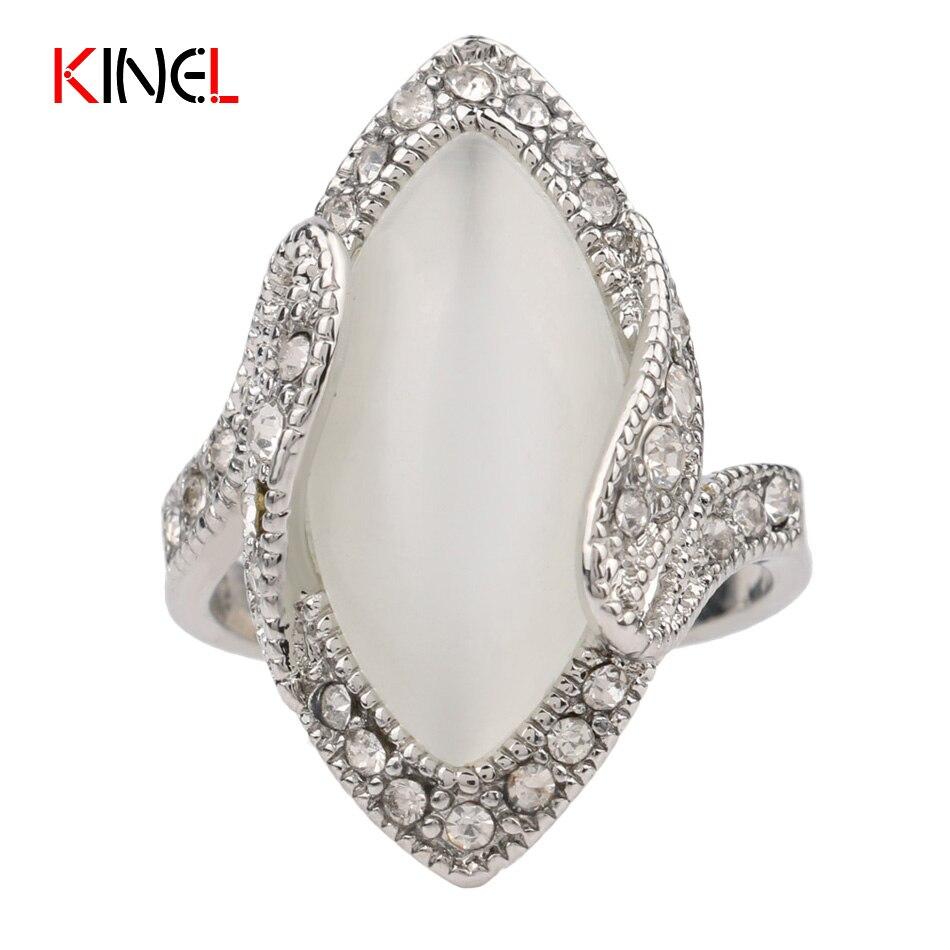 ⑥Богемные модные овал Большой опал кольцо для Для женщин ...