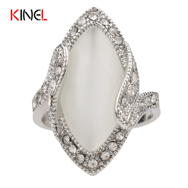 Big Opal ring For Women Plated Silver