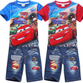 Retail 2017 summer new Boys car Clothing Sets Children Cartoon Cotton Short Sleeve T Shirt+ Jeans  Suit Kids Clothes