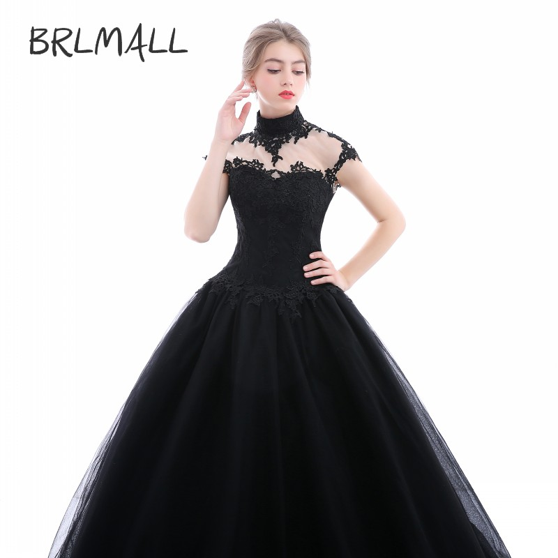 BRLMALL Women s High Neck Goth Style Wedding Dresses Plus Size Tulle  Applique vestido de noiva Bridal Gown Ball Church For Bride-in Wedding  Dresses from ... 4c80f34e3404