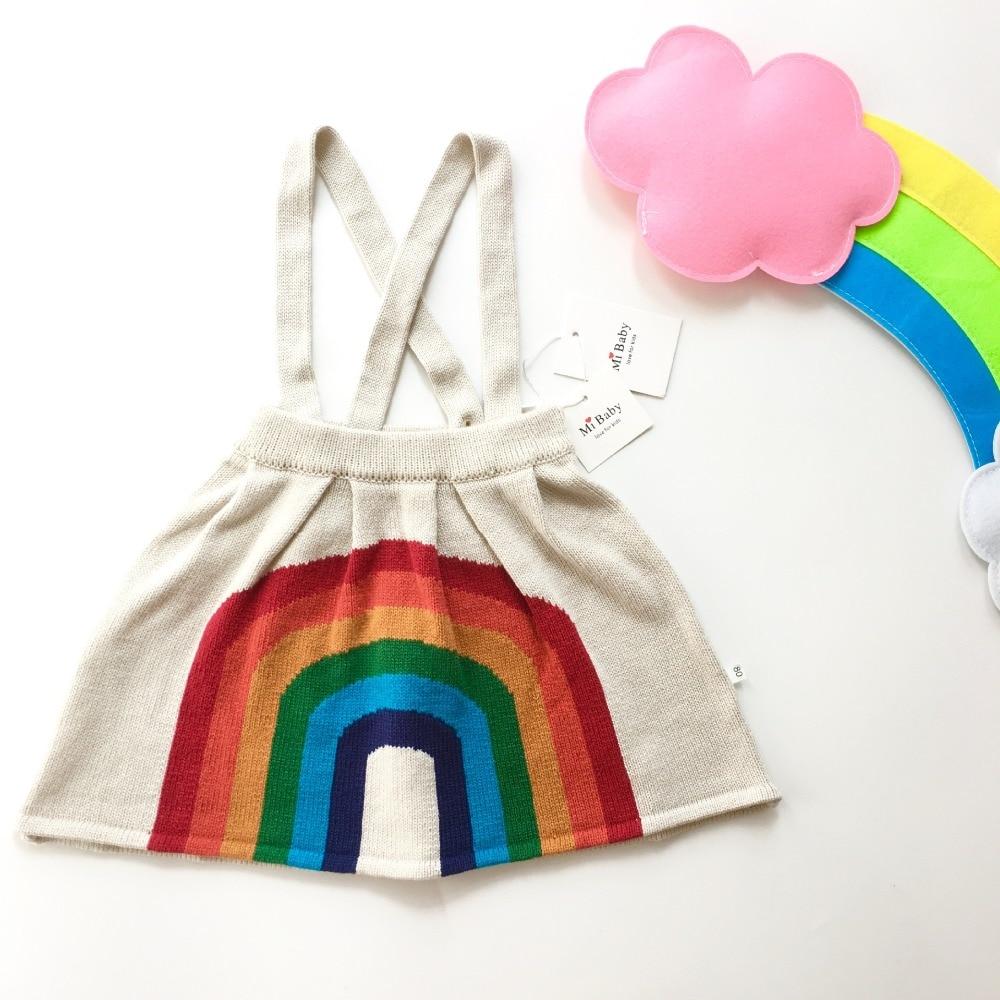 Girls knitting overall dress rainbow pattern cute baby girls dress abstract geo print overall dress