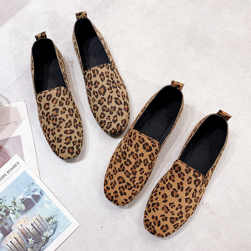 ea92f859251f ... Sexy leopard print flat shoes women's loafers 2019 new ballet shoes  women's leather turf casual ballet