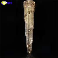 FUMAT Modern Stair LED K9 Crystal Chandelier Large Suspension Compound Rotate Villa LED Dining Room Lamp