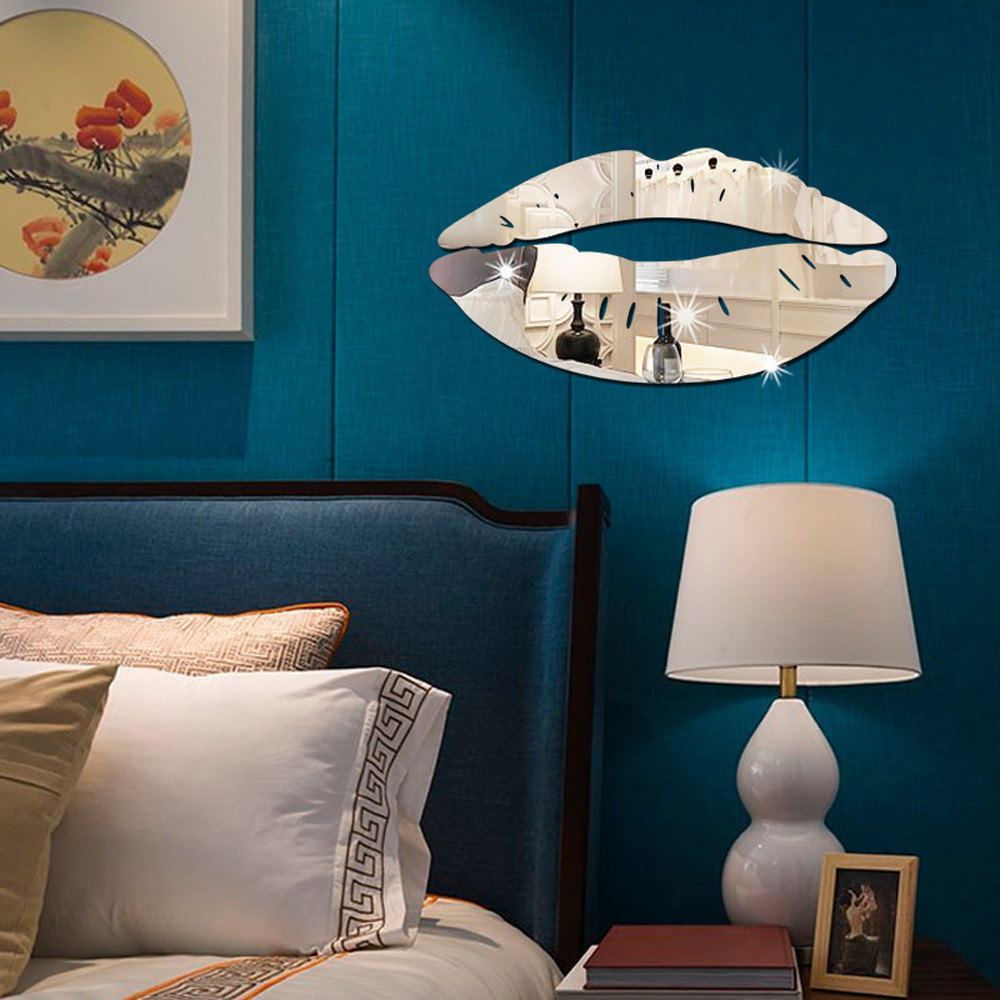 New listing removable lips mirror wall stickers decal art - Removable wall stickers living room ...
