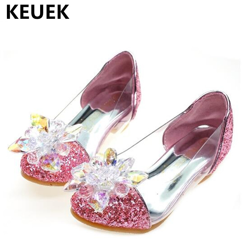 Spring/Autumn Crystal High heels Girls Shoes Children Princess Sequins Glass Bright Diamond Dance Shoes Kids Leather Shoes 03 koovan kids dance shoes 2017 children s shoes cinderella princess polished diamond crystal heeled girls sandals jelly leather