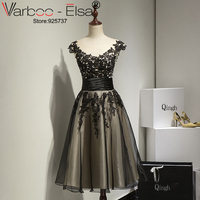Vestido De Festa 2016 New Black Formal Gown Sheer Neck Lace Applique A Line Short Prom