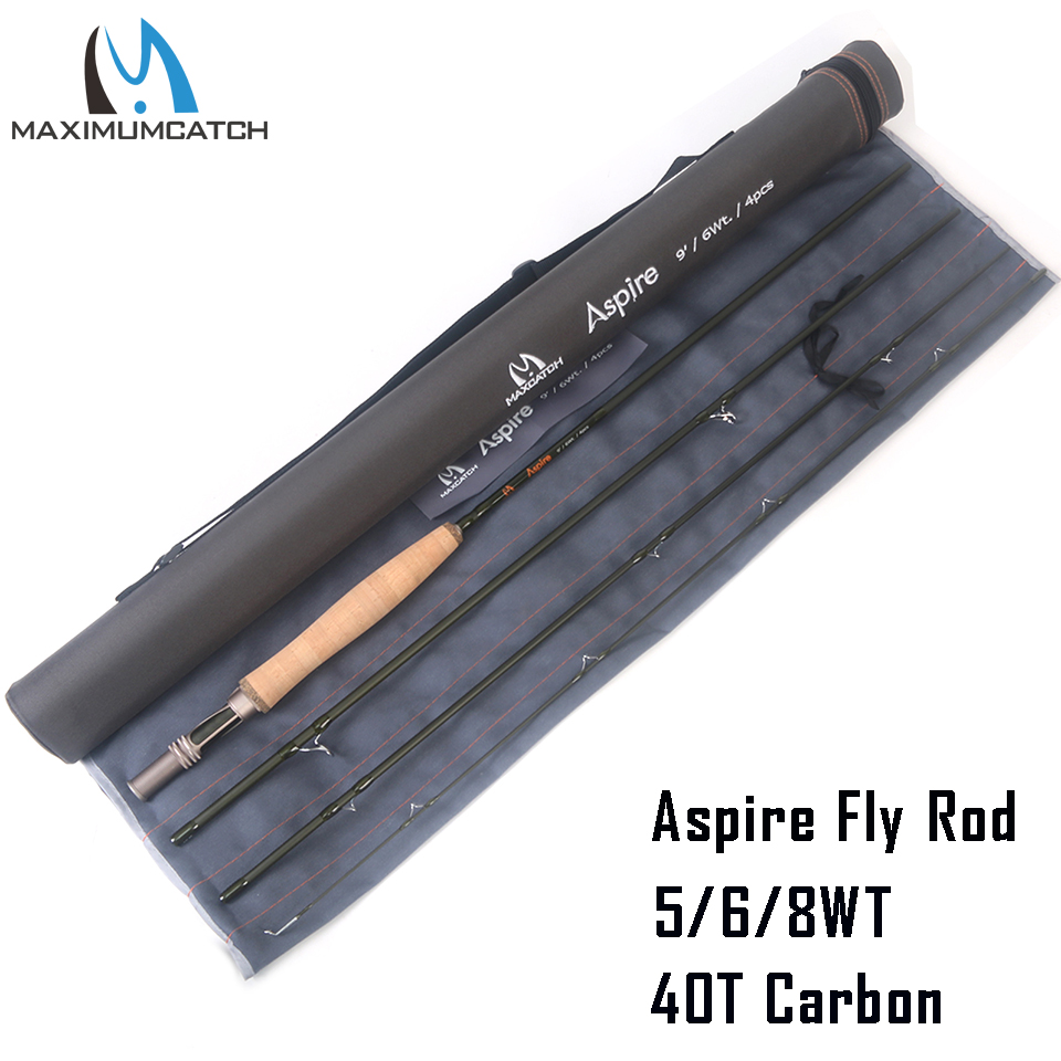 Maximumcatch Aspire Fly Fishing Rod 40T Carbon Fiber Fast Action Fly Rod With Cordura Tube 5