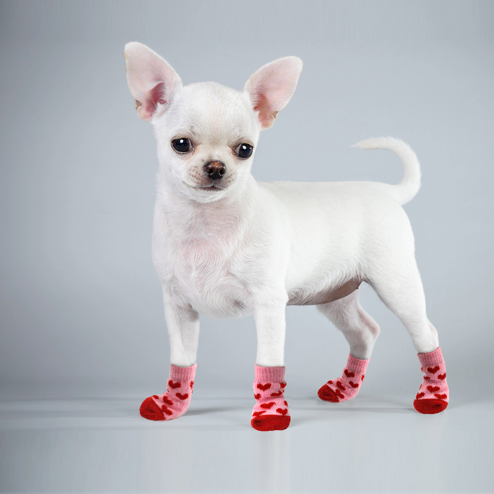 Winter Pet Dog Shoes Anti-Slip Knit Socks Small Dogs Cat Shoes Chihuahua Thick Warm  Paw Protector Dog Socks Booties Accessories