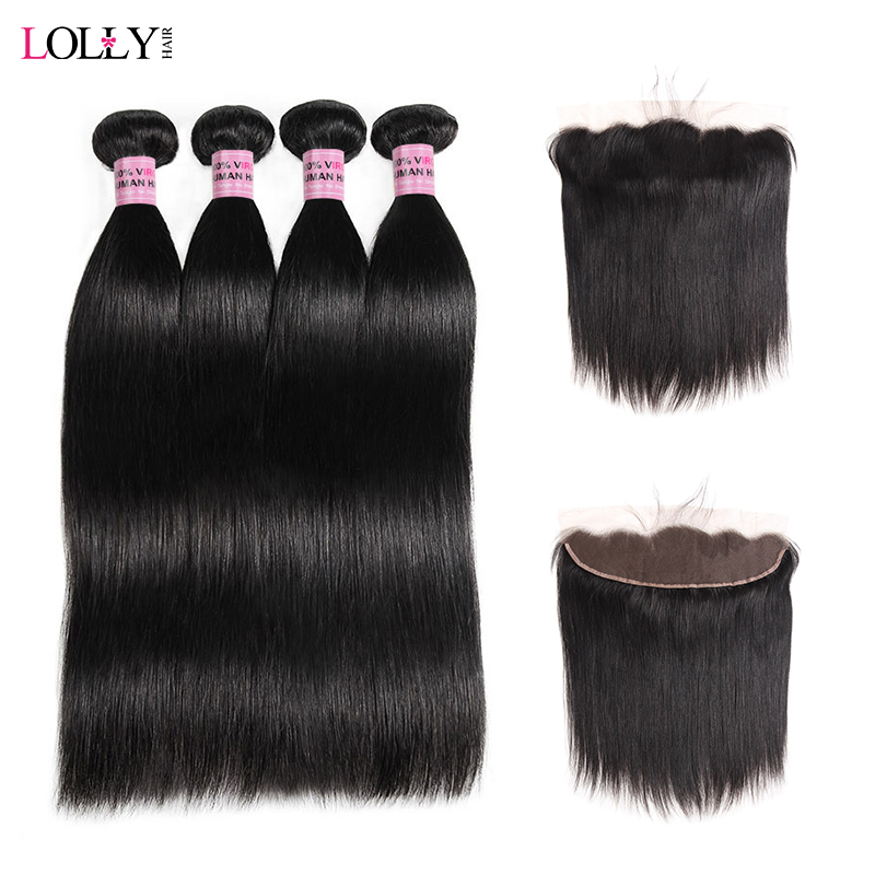 Lolly Brazilian Hair Weave Bundles With Frontal Straight Human Hair Bundles With Frontal Ear To Ear Closure With 4Pcs Remy Hair
