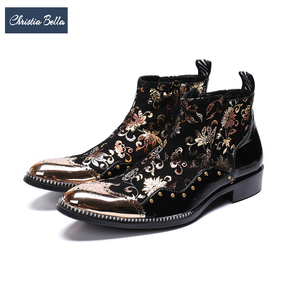 Christia Bella Luxury Gold Floral Men Short Boots Bullock Carved Martin Boots Plus Size Zipper Ankle Boots Formal Leather Shoes short sleeve plus size floral blouse
