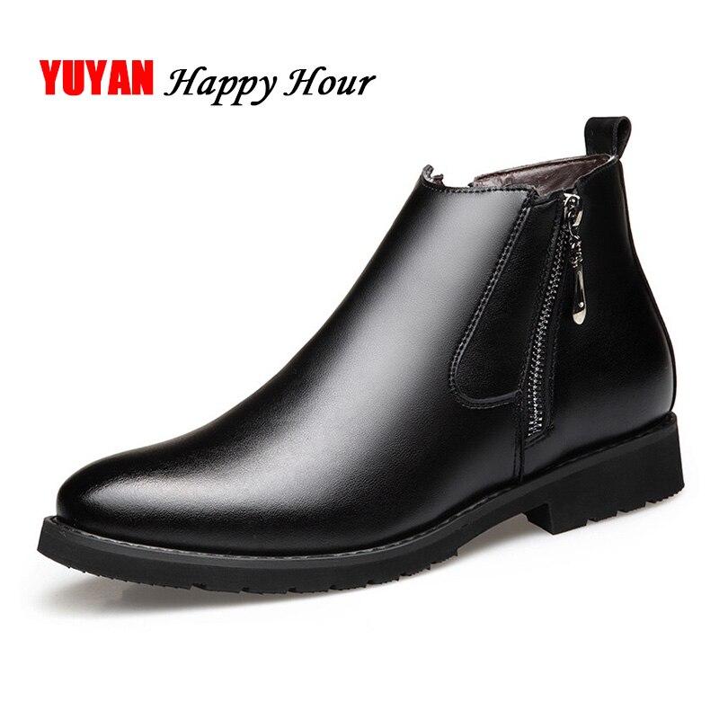 Cuir véritable Chelsea bottes hommes chaussures d'hiver en peluche chaussures chaudes fermeture éclair cuir de vachette bottines hommes bottines noir KA440