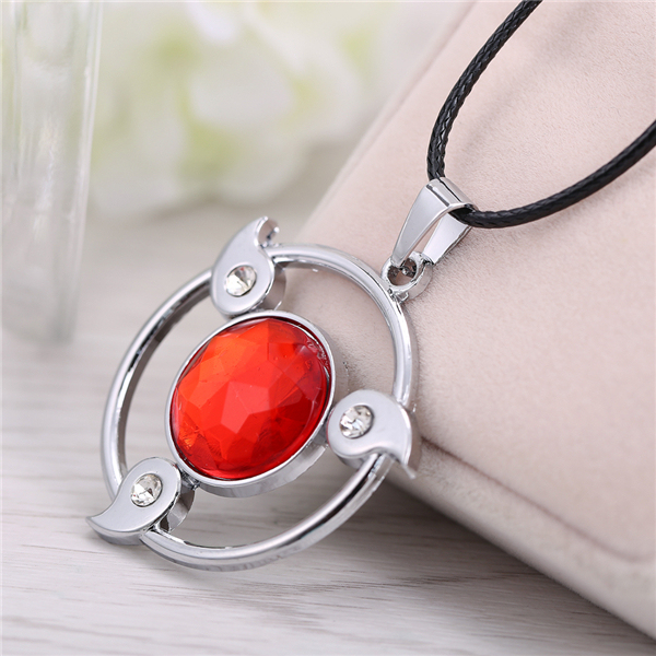 Naruto Red Stone Sharingan Hollow Out Pendant Necklace
