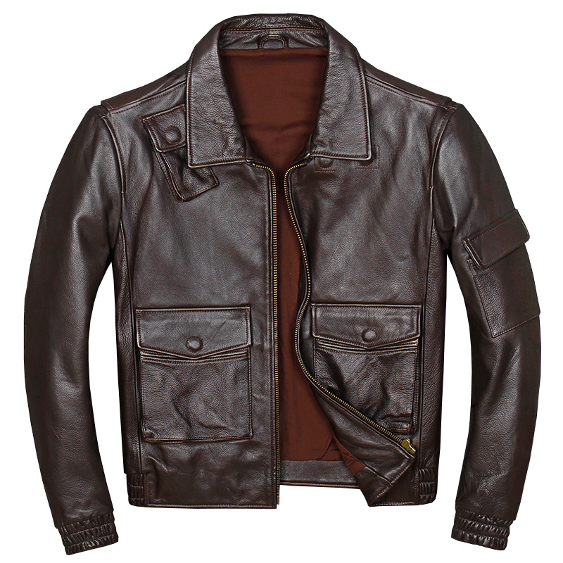 Jacket Genuine Russian Brown Cowhide Casual Autumn Short Thick Coat Young Plus-Size Men