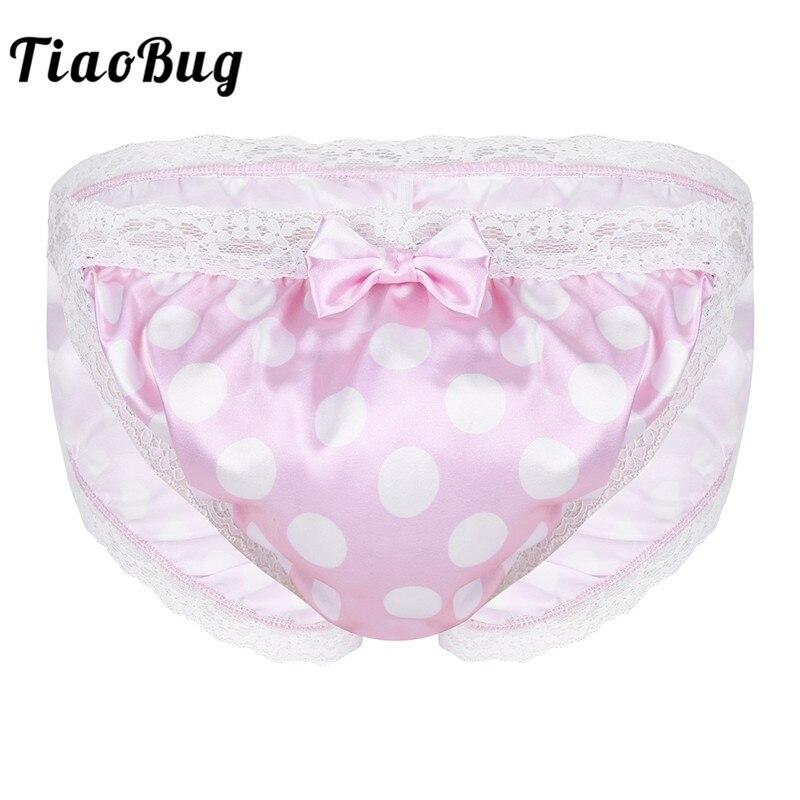 TiaoBug Men Pink Shiny Polka Dot Lace Floral High Cut Low Rise Bikini Briefs Underwear Hot Sexy Gay Sissy Panties Lingerie Tanga