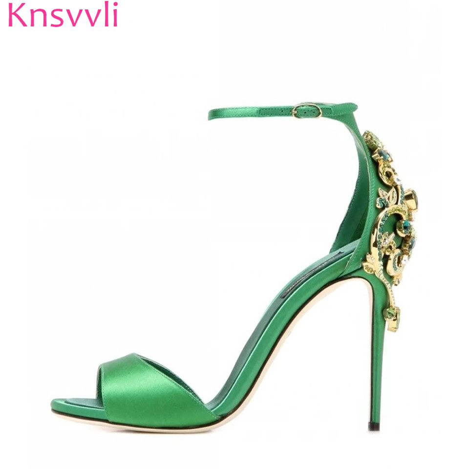 Fashion Noble Rhinestone Emerald Green High Heel Women Shoes A Word Buckle Cover Heel Satin Black Stiletto Women Sandals sexy