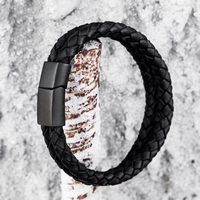 Newest Creative Boutique Double Layer Braided Genuine Leather Bracelet Men Women Stainless Steel Black Bracelets Bangles
