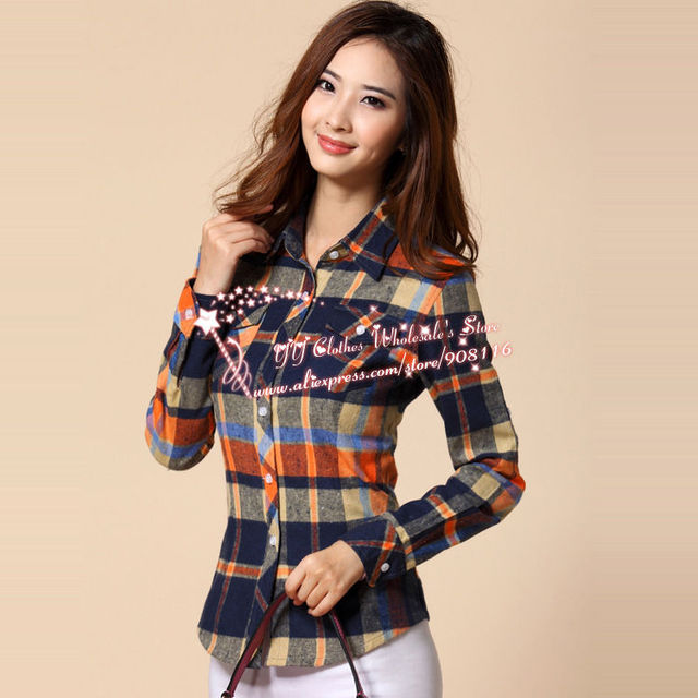 67d7f73bd9209d Free Shipping,2013 New Excellent,women Korean Styel Long Sleeve  Plaid/checked Blouse,top Shirts,ladies Casual Blouses,m,l,xl,xxl