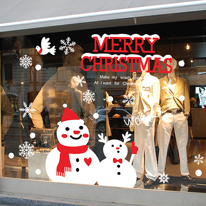 Christmas Snowman Wall Stickers Christmas Snow DIY Bedroom Kids Window New  Year Shop Window Wall Sticker